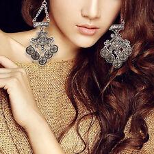 Women Chandelier Round Disk Dangle Drop Hook Earrings Party Cocktail Jewelry #
