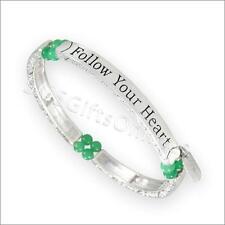 Antique Silver Tone Green Jade Follow Your Heart Sentiment Message Bracelet