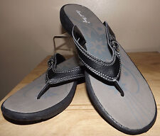 CORAL BAY WOMEN'S NEW  BLACK COMFY THONG TOE SANDALS SHOES SIZE 9.5M