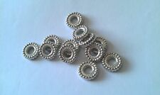 100x CCB Acrylique silver tone ondulé Donut Espaceur beads10mm (trou 4 mm)