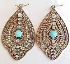 ~ Old Antique VTg Turquoise Teardrop Cabochon & Crystal Pendant EARRINGS Leaf