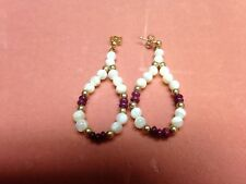 Ruby and Mother of Pearl 14K Solid Gold Post Earrings
