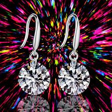 Elegant Women 925 Sterling Silver Cubic Zirconia Drop Dangle Ear Stud Earring