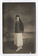 CARTE PHOTO Décor Toile peinte Postcard RPPC 1918 Femme Long cheveux Hair Marin