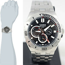 Casio MTD1060D-1A Men's Black Dial Stainless Steel Dress Watch 100M Diver New