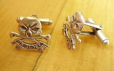 ONE PAIR BRITISH ARMY STERLING SILVER 17th / 21st LANCERS CUFFLINKS