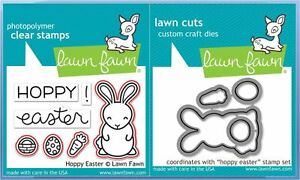 Lawn Fawn Photopolymer Clear Stamp & Die Combo Set ~ HOPPY EASTER  ~1319, 1320