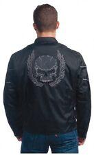 Mens Motorcycle Jacket Nylon Textile, Reflective, Skull Flame