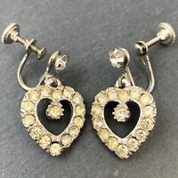 VINTAGE HEART EARRINGS CLEAR RHINESTONE DANGLING HEARTS SCREW BACK STYLE