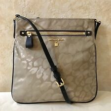 906555078e53 MK Michael Kors Kelsey Large Leopard Nylon Cross body Bag Truffle Brown
