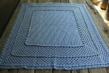 Vintage Handmade Crochet Afghan/Throw/Accent Piece Marled Blue/Pink