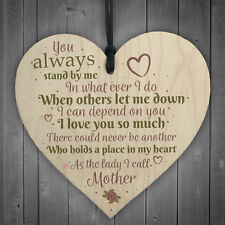 Mother Love You Wooden Hanging Heart Mothers Day Birthday Cute Mum Gift Sign