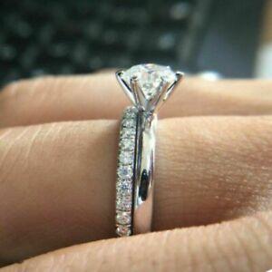 Generous Moissanite 14k Whit Gold Engagement Ring Set 1.5ct Round Test Positive