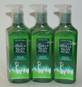 3 BATH & BODY WORKS VANILLA BEAN NOEL GENTLE GEL HAND SOAP WASH ESSENTIAL OILS