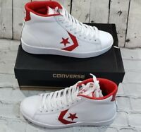 Converse Pro Leather 76 Mid (157426C) White Casino Red Men's Shoes Sz M 8  W 9.5