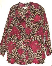 Woman's 3XL Animal print and Roses print ~ Button front top by Venezia Vitale