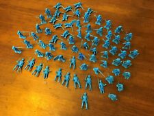Vintage Western Cowboys Indians Soldiers Blue Plastic Toy Figure Mixed Lot of 72