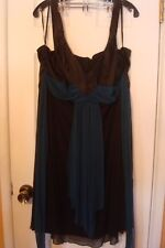Women's Studio 1940 Black Dress w/Turquoise Sash  Size 16
