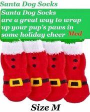 Christmas Holiday costume dog clothes Santa Dog Red & Fur Socks Med