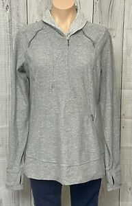 Lululemon Think Fast 1/2 Zip Long Sleeve Pullover Heather Slate Gray Logo 12 WOW