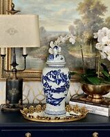 Beautiful Classic Blue and White Porcelain Ceramic Temple View Ginger Jar Vase