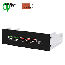 EZDIY-FAB 5.25in 10Gbps USB 3.1 Gen2 Hub and Type-C Port,Front Panel USB Hub QC
