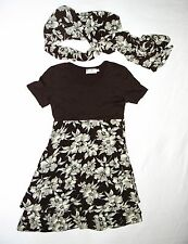 Excellent Condition CDC Petites Brown Dress With Scarf Size 6!