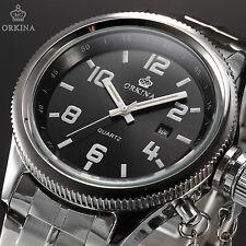 ORKINA Fashion Mens Date Stainless Steel Quartz Military Black Wrist Sport Watch