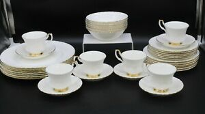 Royal Albert Val D'or 37 Piece Dinner Service Tea Set, White With Gold Rim