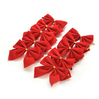24pcs 6*5.5cm Velvet Christmas Bows With Gold Ties Festive Tree Decor#'