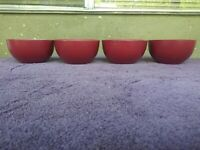 """Pfaltzgraff Harmony Red Cereal Bowls White 5.5"""" Set of 4"""