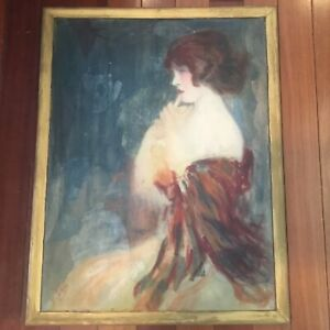Antique Impressionist Oil Painting Portrait of an Art Deco Flapper Girl Signed