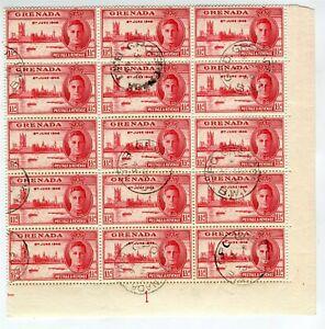 GRENADA; 1946 GVI Victory issue fine used BLOCK, VARIETY