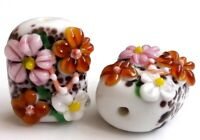 10pcs exquisite handmade Lampwork glass beads flower 15*18mm