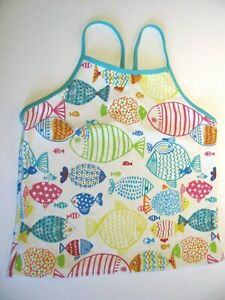 LANDS' END Youth 16 Swim Tank Top Outdoor Recreation Colorful Fun Fish