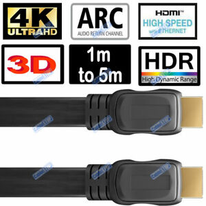 FLAT HDMI Cable HD High Speed 4K 2160p ARC Lead 1m/1.5m/2m/3m/5m