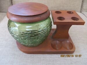 Vintage Wood 4 Pipe Stand Holder With Glass Green Jar Humidor Tobacco Ohio