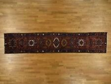 """3'7""""x17'4"""" Gallery Size Antique Persian Karajeh Excellent Condition Rug G36876"""