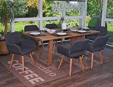 6x chaise de salle à manger Altena II, fauteuil, design rétro ~ tissu, gris