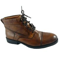 Reaction Kenneth Cole Mens Boot Size 8.5M Brown Brewster B Leather Lace Up