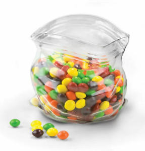 New FRED & FRIENDS Unzipped Plastic Bag Shaped Glass Candy Bowl