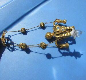 Antique Dollhouse Miniature Chandelier Brass Ornate Light Marklin Edwardian