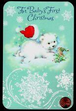 Polar Bear Cub Bird Santa's Hat Snow Baby's First Christmas Greeting Card New