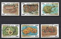 Serpientes animales Camboya (133) completo 6 sellos matasellados