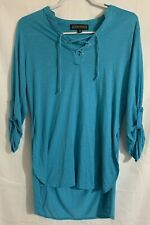 Almost Famous Teal Blue Long Sleeve Shirt Women's X-Large