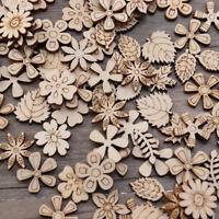 100pcs Natürliche Holzscheib Scrapbooking DIY Sammelalbum Handwerk Blume Form