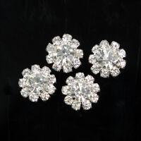 10 Pcs Silver Tone Crystal Rhinestone Flower DIY Embellishment Flatback Craft