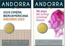 Andorra 2020 - Ibero Americana + Vrouwenkiesrecht - 2x 2 euro - BU in coincard