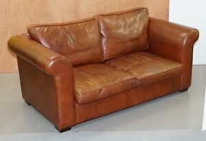 STUNNING BROWN LEATHER LAURA ASHLEY SOFA 2SEATER W/ FEATHER FILLED BACK CUSHIONS
