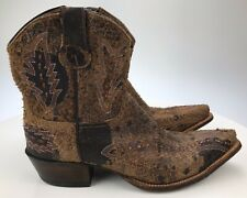 Women's 10 Lucchese Diva Brown Distressed Leather Zip Ankle Booties Made In USA